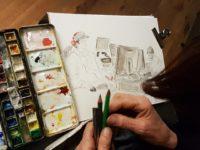 Nieuwe Stadstekenaar Amsterdam tekent in de studio